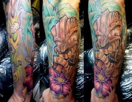 Tiki & Palme Tattoo 2